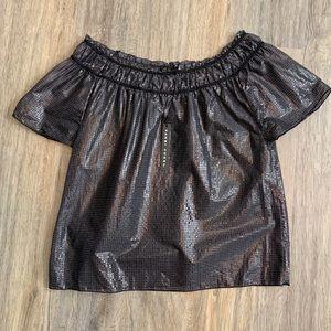 Shiny Black Metallic off the shoulder blouse